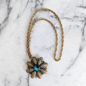 vintage 60's long filigree flower pendent necklace